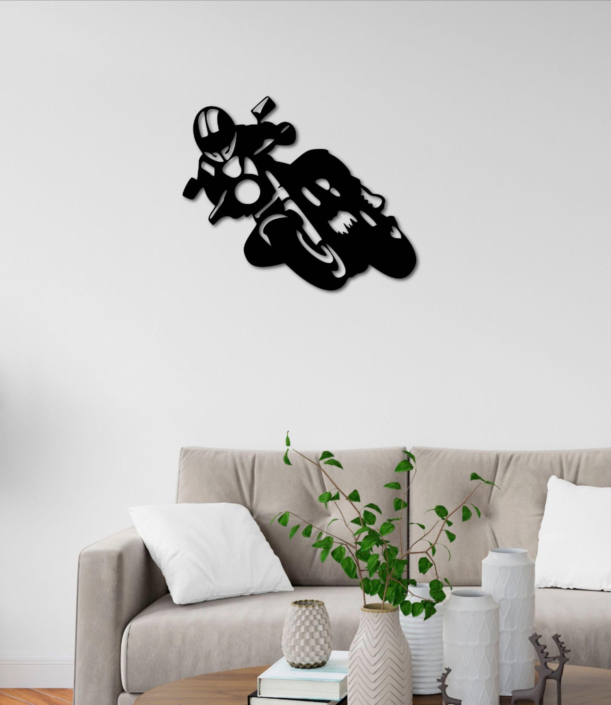Motor Motorbike Metal Wall Art Decoration Gift In 23 5 Inch Customize It Metal Wall Art Wall Art Decor Metal Walls