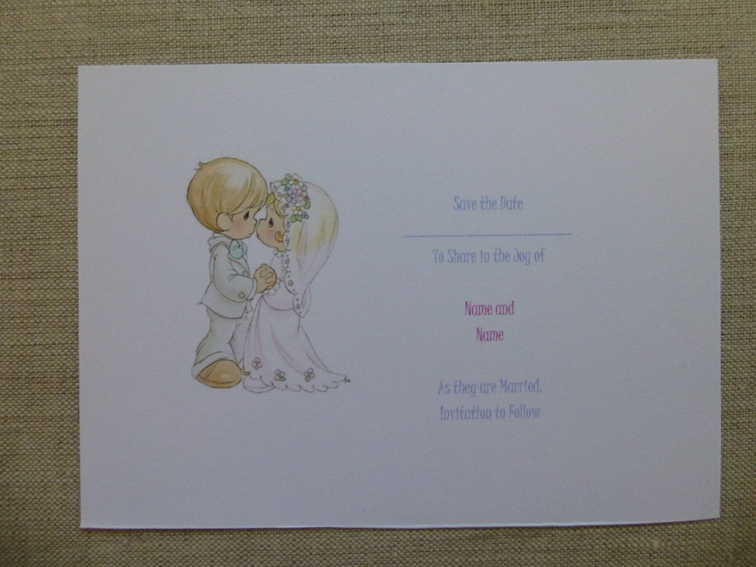 Precious Moments Wedding Thank You Cards Sample Made to Order – Order Wedding Thank You Cards