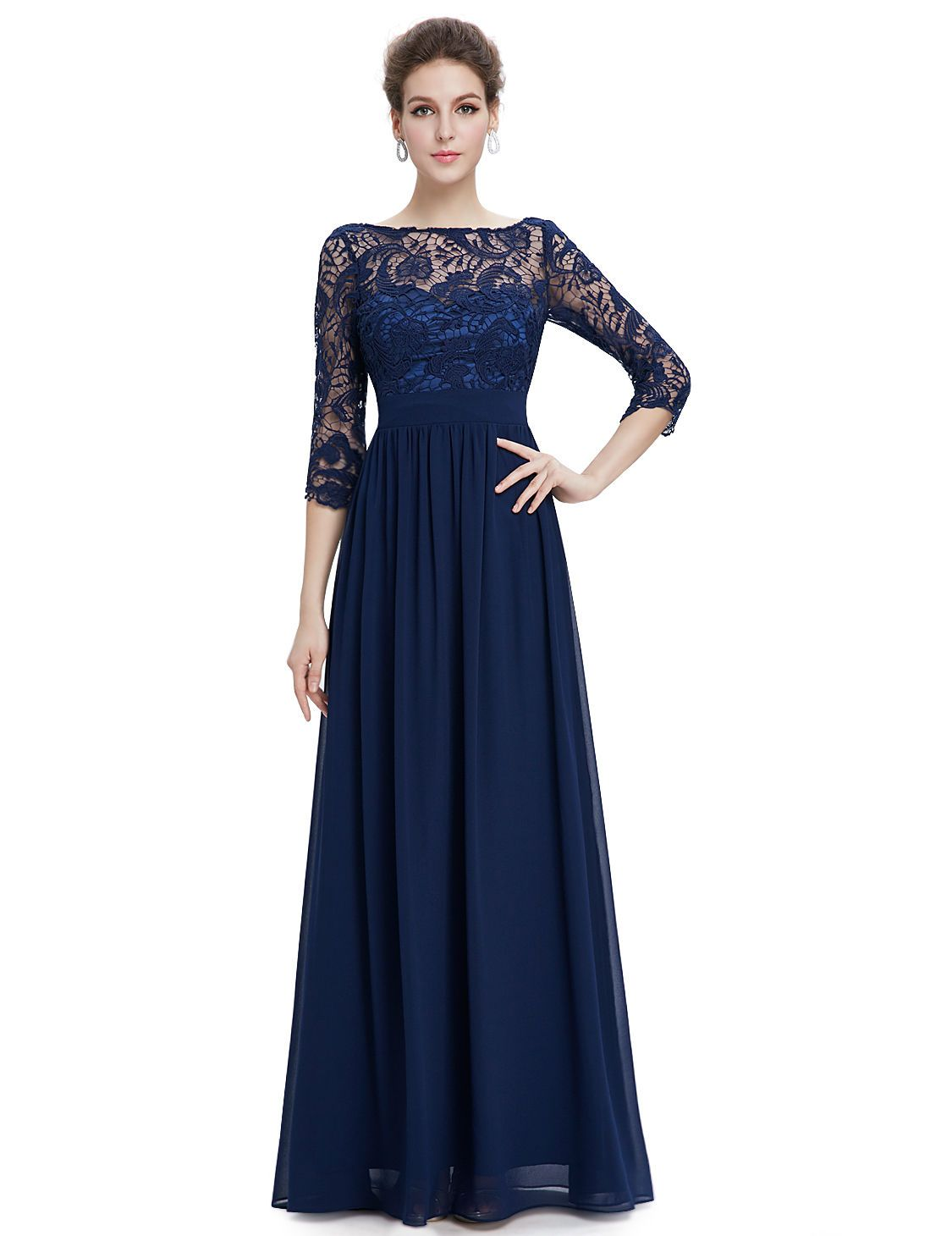 Women S 3 4 Sleeve Chiffon Long Prom Bridesmaid Party Wedding Evening Gown Dress Blue Lace Dress Long Formal Evening Dresses Evening Dresses [ 1460 x 1125 Pixel ]