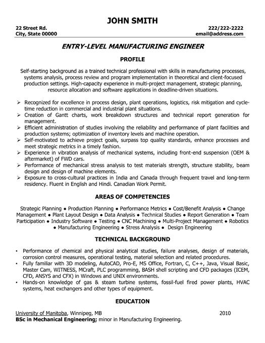 entry level manufacturing engineer resume template - Entry Level Engineering Resume