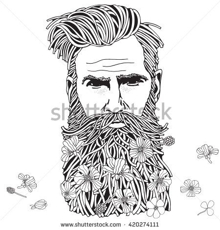 Bearded Hipster Man Coloring Book Page For Adult Hand