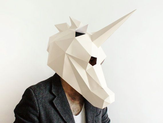 DIY Unicorn Mask, Paper Craft Template, Halloween Mask