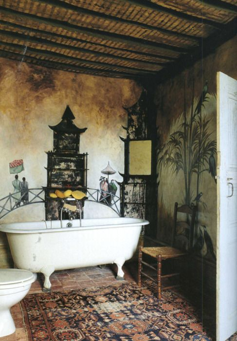 I am in L o v e with this bath...Rustic chinoiserie!