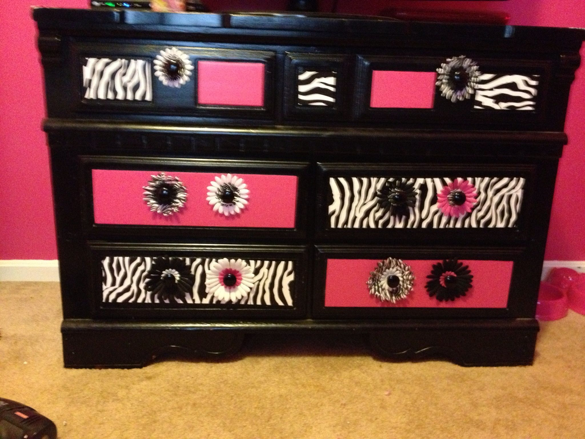 zebra and pink finished dresser | zebra teen room | pinterest