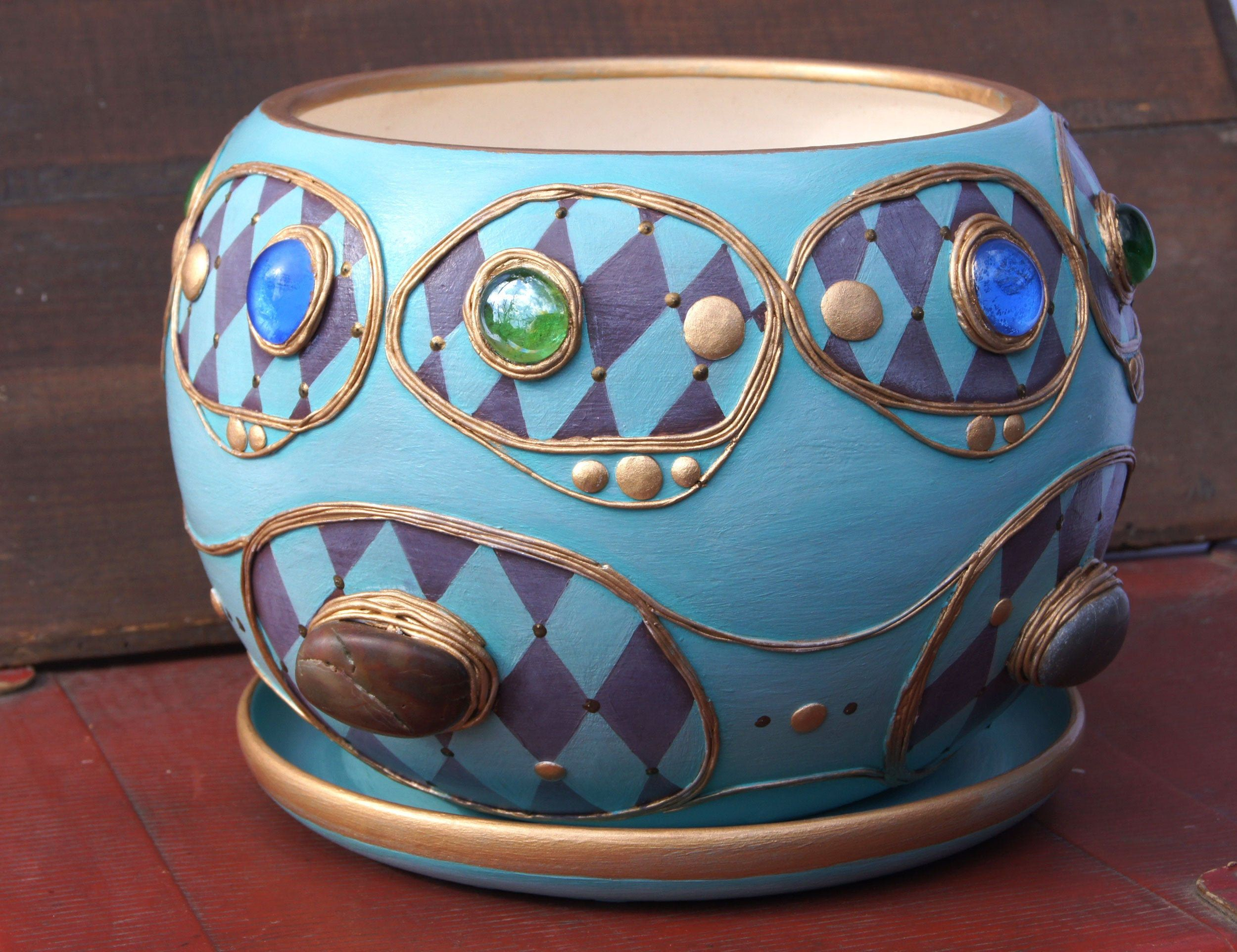 Large hand painted ceramic plant pot indoor flower pot