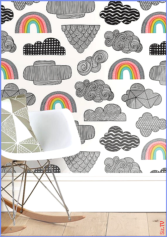 Our Clouds Rainbows wallpaper is the perfect quirky design for your childrens bedroom or nursery Handdrawn clouds filled with pattern drift across Our Clouds Rainbows wal...