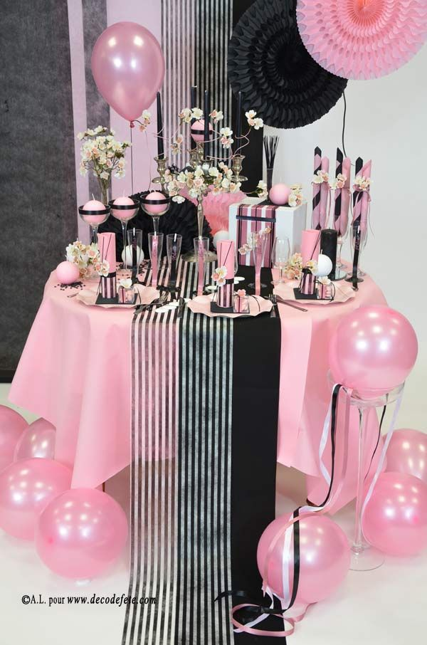 Pin by on deco table rose noire in 2019 chanel party chanel birthday party - Deco table paris ...