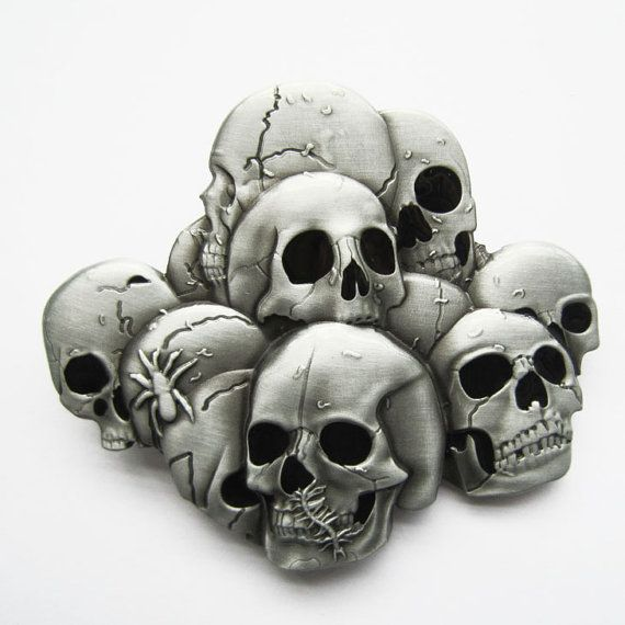 Pile of Skull Heads Metal Belt Buckle by YippoAccessories on Etsy