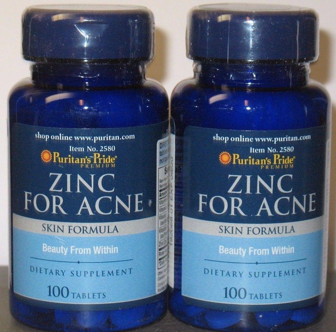 2 X 100 Puritans Pride Zinc For Acne Skin Formula 200 Tablets Calcium Magnesium Citrate Plus Vitamin D Capsules