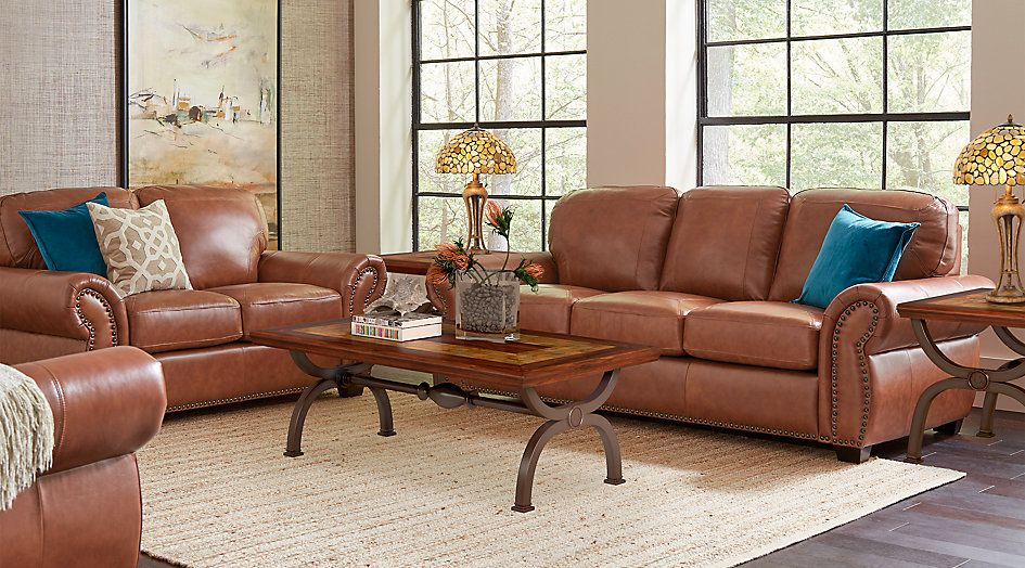Balencia Light Brown Leather 7 Pc Living Room Leather Living Rooms Brown Brown Living Room Decor Dark Brown Couch Living Room Couch Decor