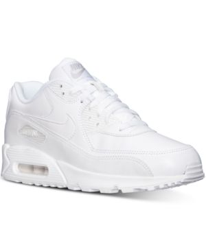 online store e23f5 86e30 Nike Men s Air Max 90 Leather Running Sneakers from Finish Line - White 10.5