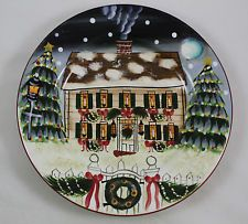 """Sakura Oneida David Carter Brown Holiday Merry Christmas Lunch Salad Plate 8.5"""""""