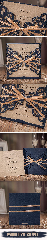 Elegant navy blue laser cut wedding invitations with ribbon wlc