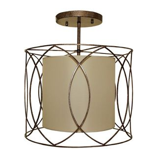 Flush Mount 3 Light Wrought Iron And Beige Drum Chandelier In 2019