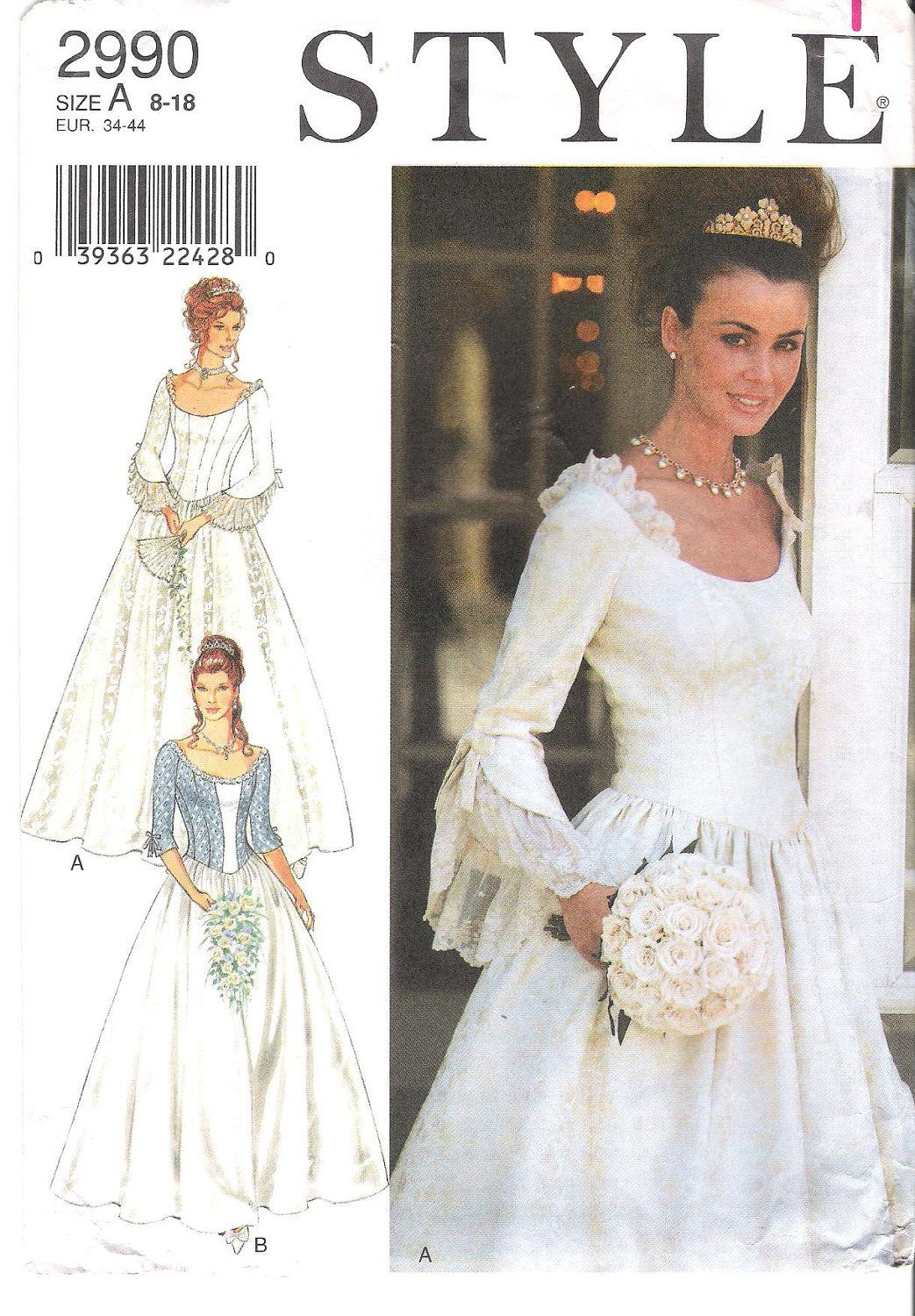 Lovely Princess Style Scoop Neck Wedding Dress Bridesmaid Ballgown Or Costume Sewing