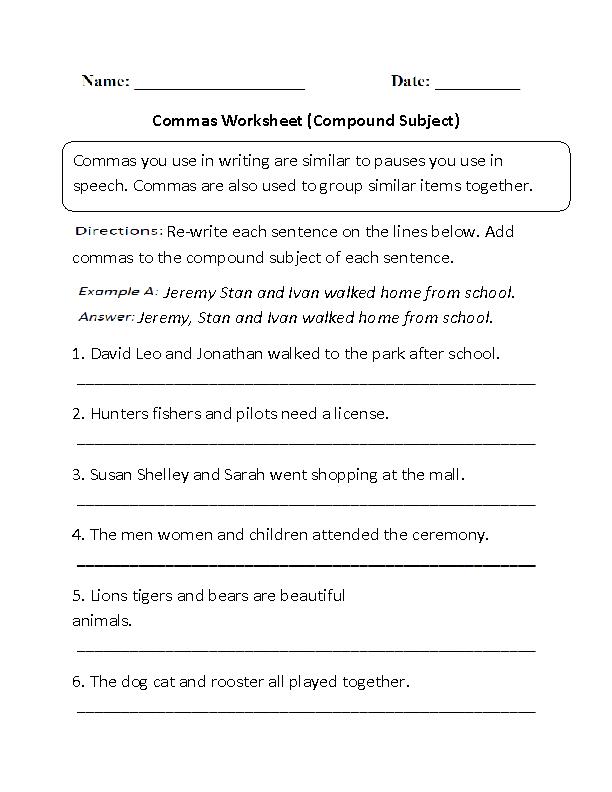 Compound Subject Commas Worksheet Grammer Excersizes Pinterest