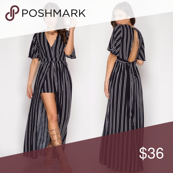 c72cf48de46a Open back long romper Navy striped romper with long skirt. Full lined S  (4-6) M (6-8) L (8-10) Pants Jumpsuits   Rompers