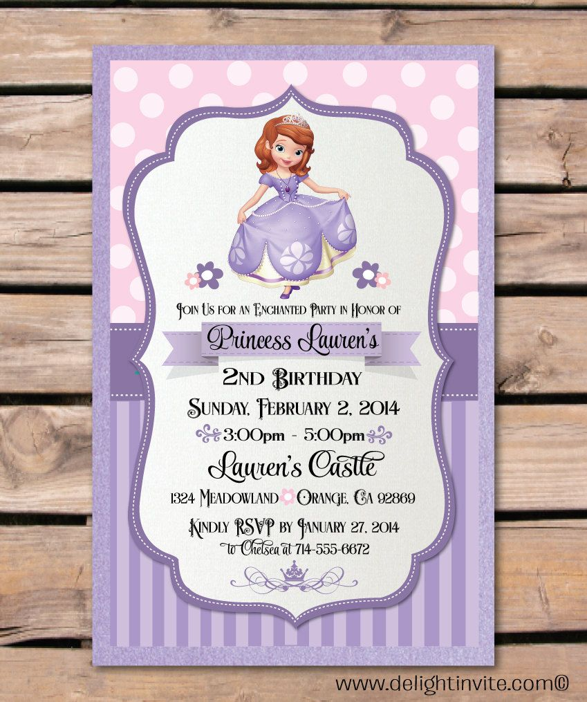 Sofia the First Birthday Invitation and Custom by DelightInvite ...