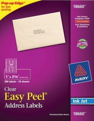 Avery 1 X 2 5 8 Clear Inkjet Address Labels With Easy Peel 300 Box 18660 At Staples Clear Return Address Labels Address Label Template Return Address Labels Template