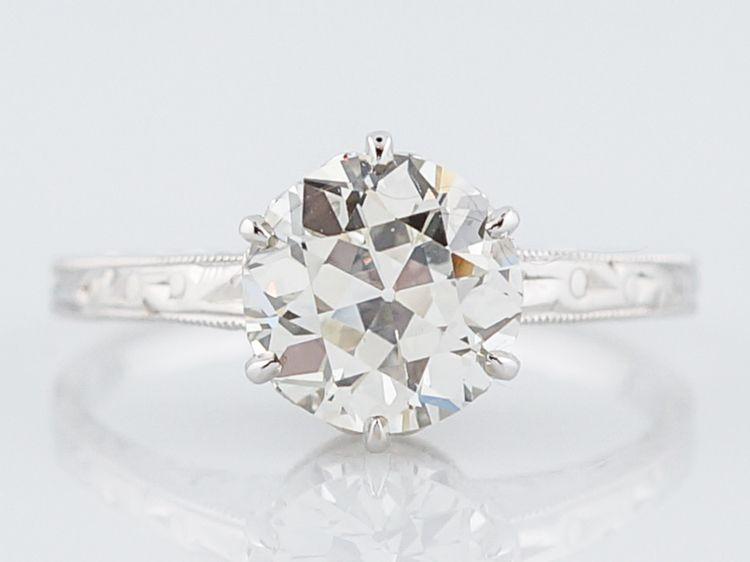Antique Engagement Ring Art Deco GIA 1.67 Old European Cut Diamond in 14k White Gold-Minneapolis, MN filigreejewelers.com