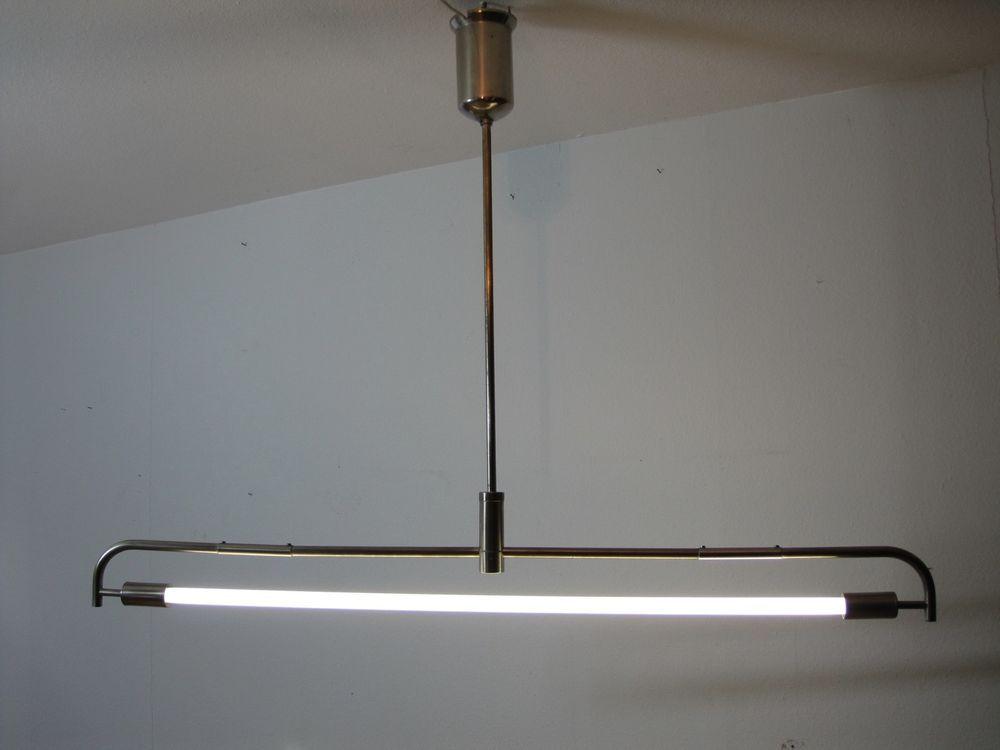 1 Originale Seltene Wmf Neon Pendel Stab Lampe Vernickelt Art Deco
