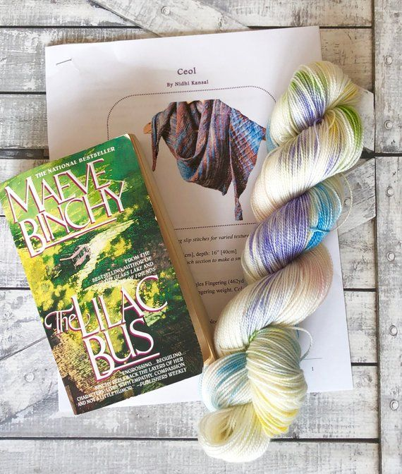 The Lilac Bus Book Club Kit Hand Dyed Yarn Toad Hollow Yarns