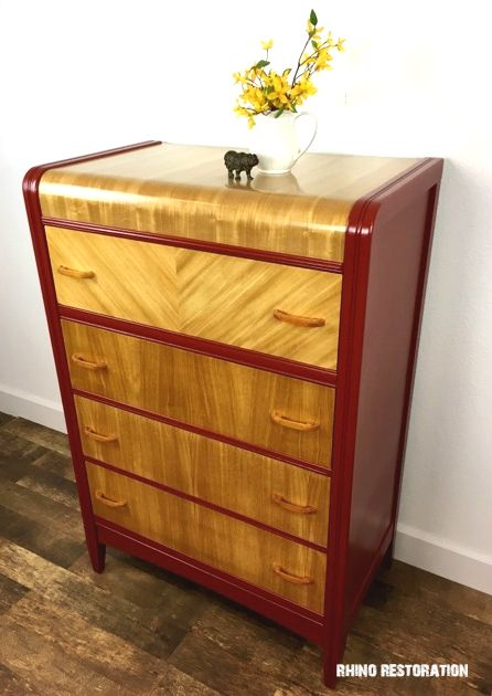 Vintage Waterfall   Art Deco Dresser With Glorious Honey Gold Wood Grain.  Refinished Top