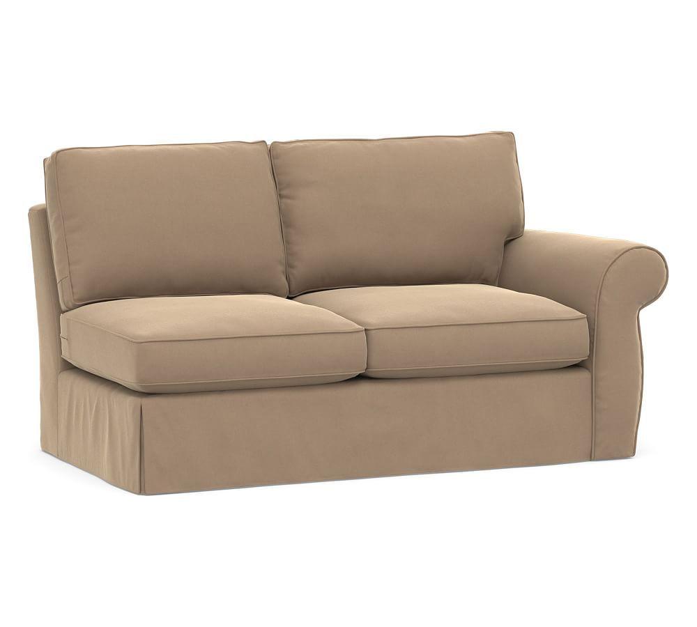 Pearce Right Return Sofa Slipcover Denim Warm White At