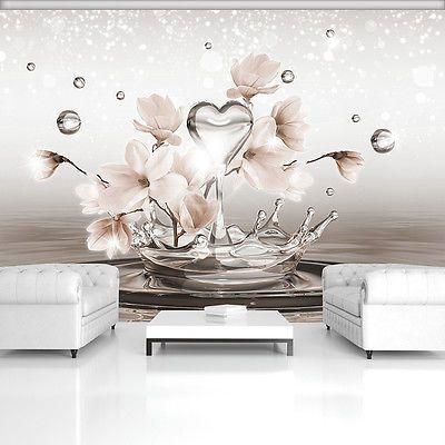 Poster Tapeten Fototapete Wandbild Blumen Herz Wasser Creme Tropfen 3492 P4