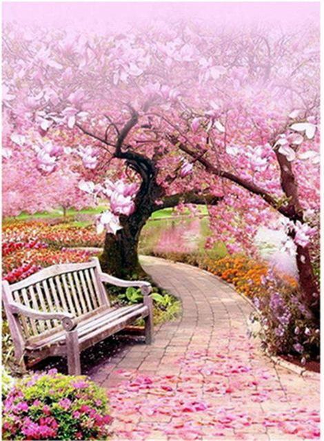 5d Diamond Painting Pink Blossom Trees