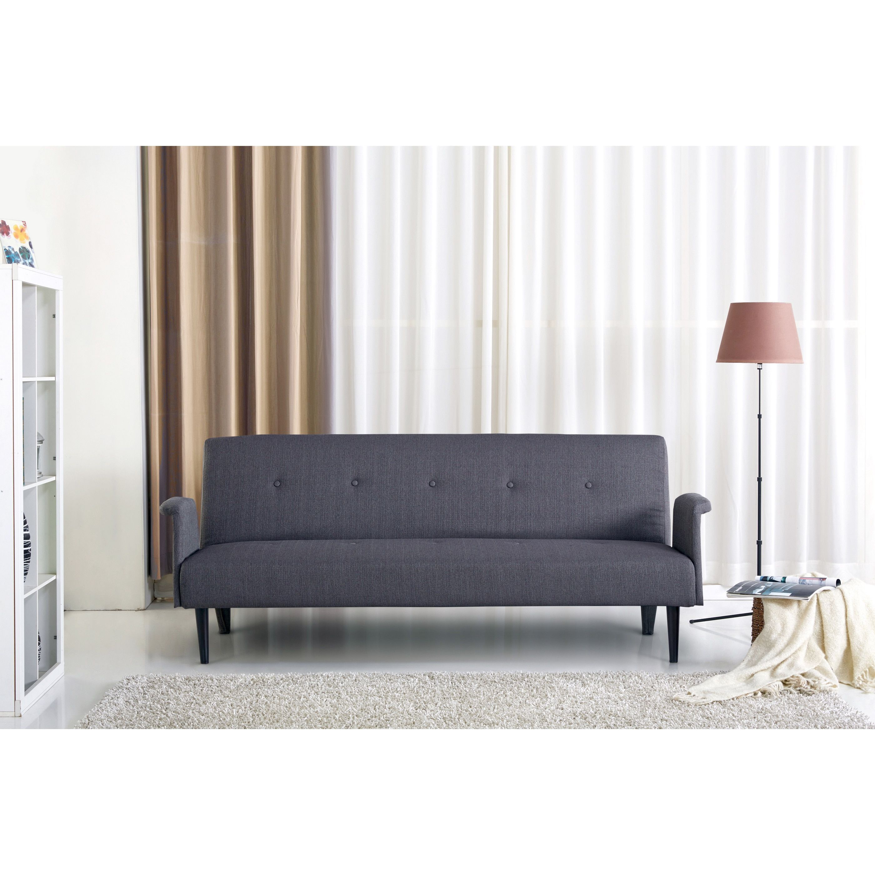 Porter International Designs Sitswell Naomi Black and Grey Futon