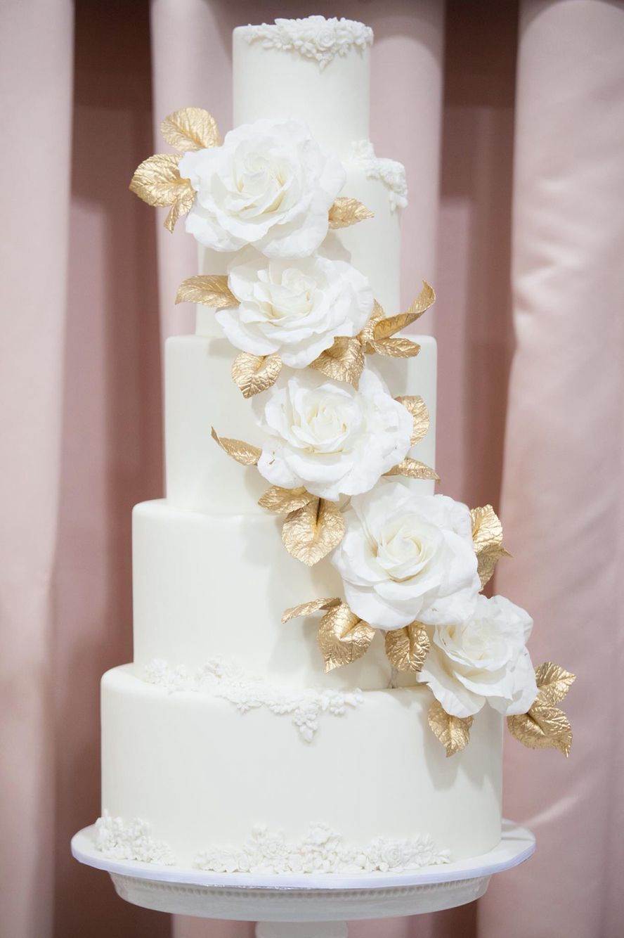 White and gold wedding cake with cascading sugar roses - Joni & Cake ...