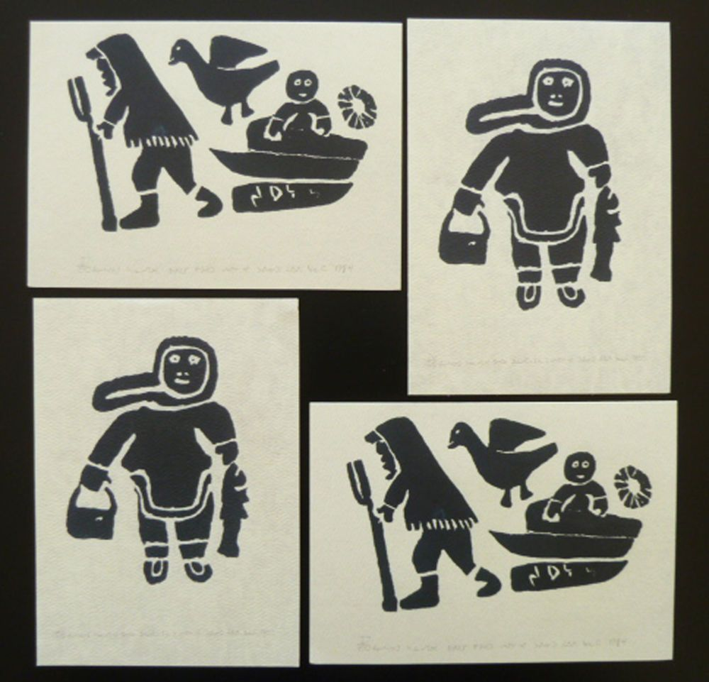 Inuit Art Cards Sarah Joe Qinuagua Sledding Bearded Seal 4 Unicef Christmas