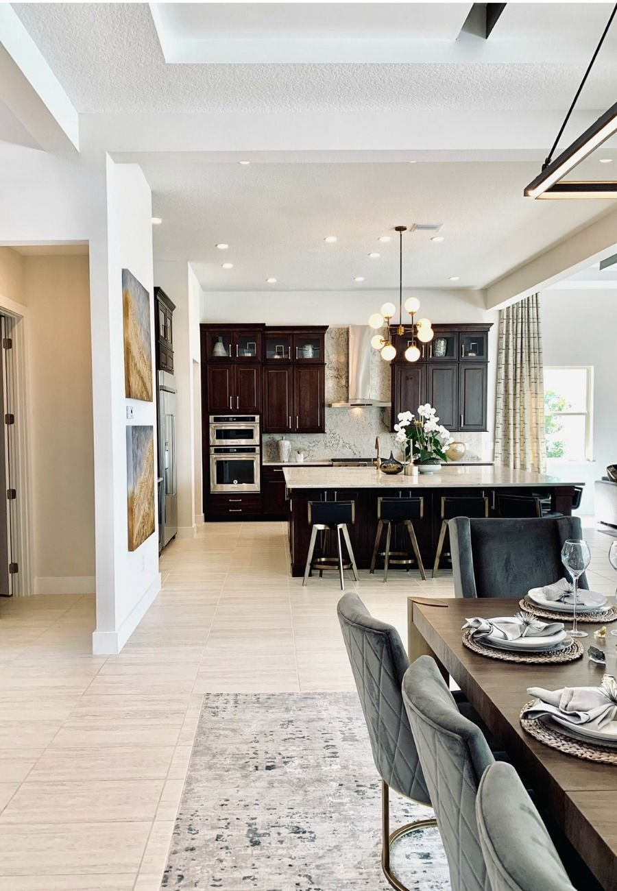 Open space concept with the dining room and kitchen island design all in one large room | Luxury Interior Design Ideas | Dining Room Decor #diningroom #designinspiration #realestate