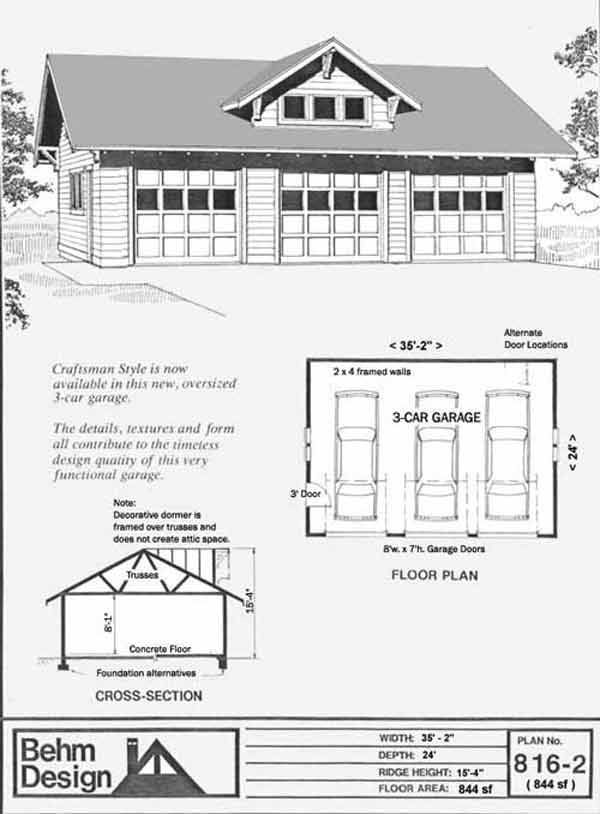3 Car Craftsman Style Garage Plan 816 2 By Behm Design Garage