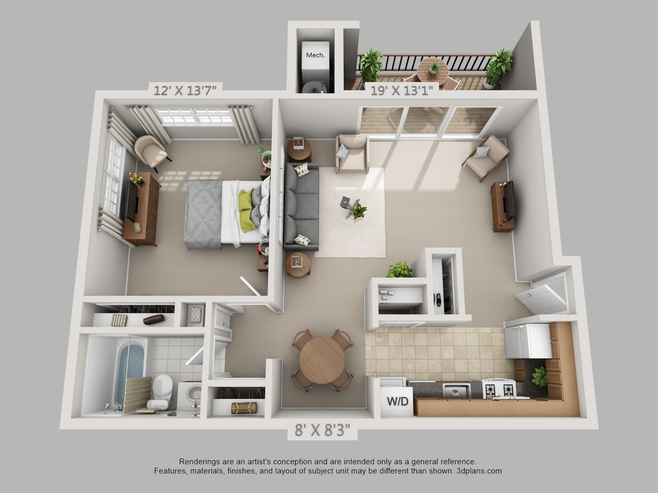 Image result for 1 bedroom 3d floor plan 집 짓기, 건축