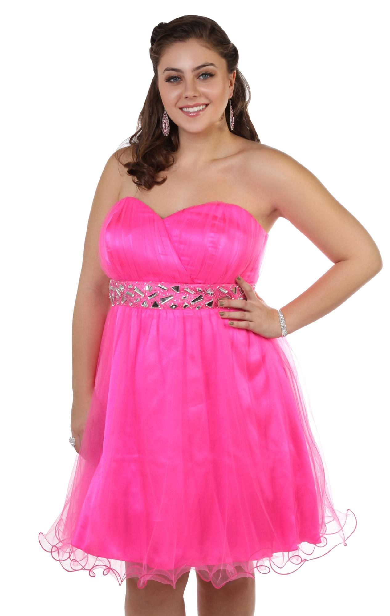 Deb Shops #neon #pink plus size strapless chunky stone short #prom ...