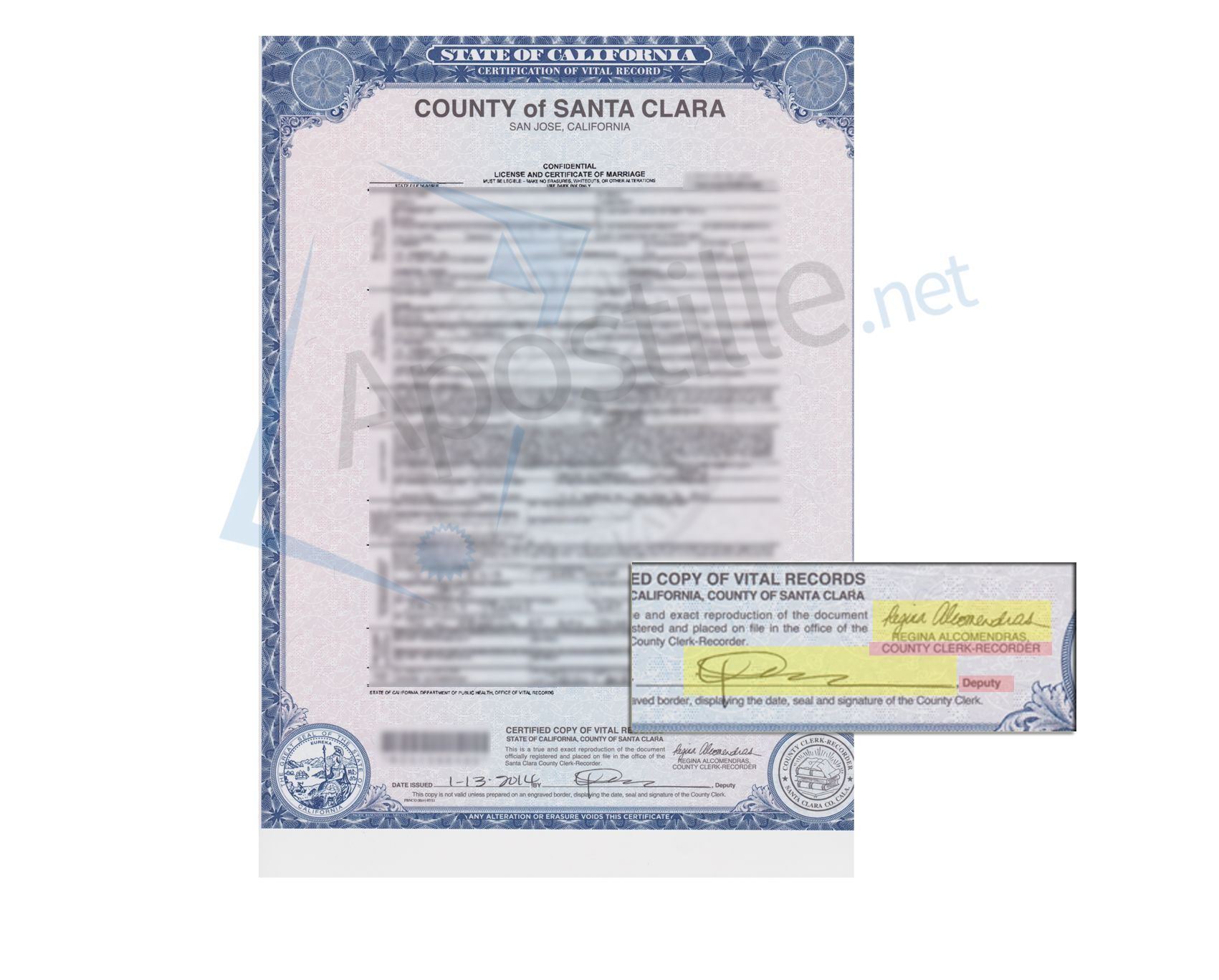 County Of Santa Clara Confidential License And Certificate Of