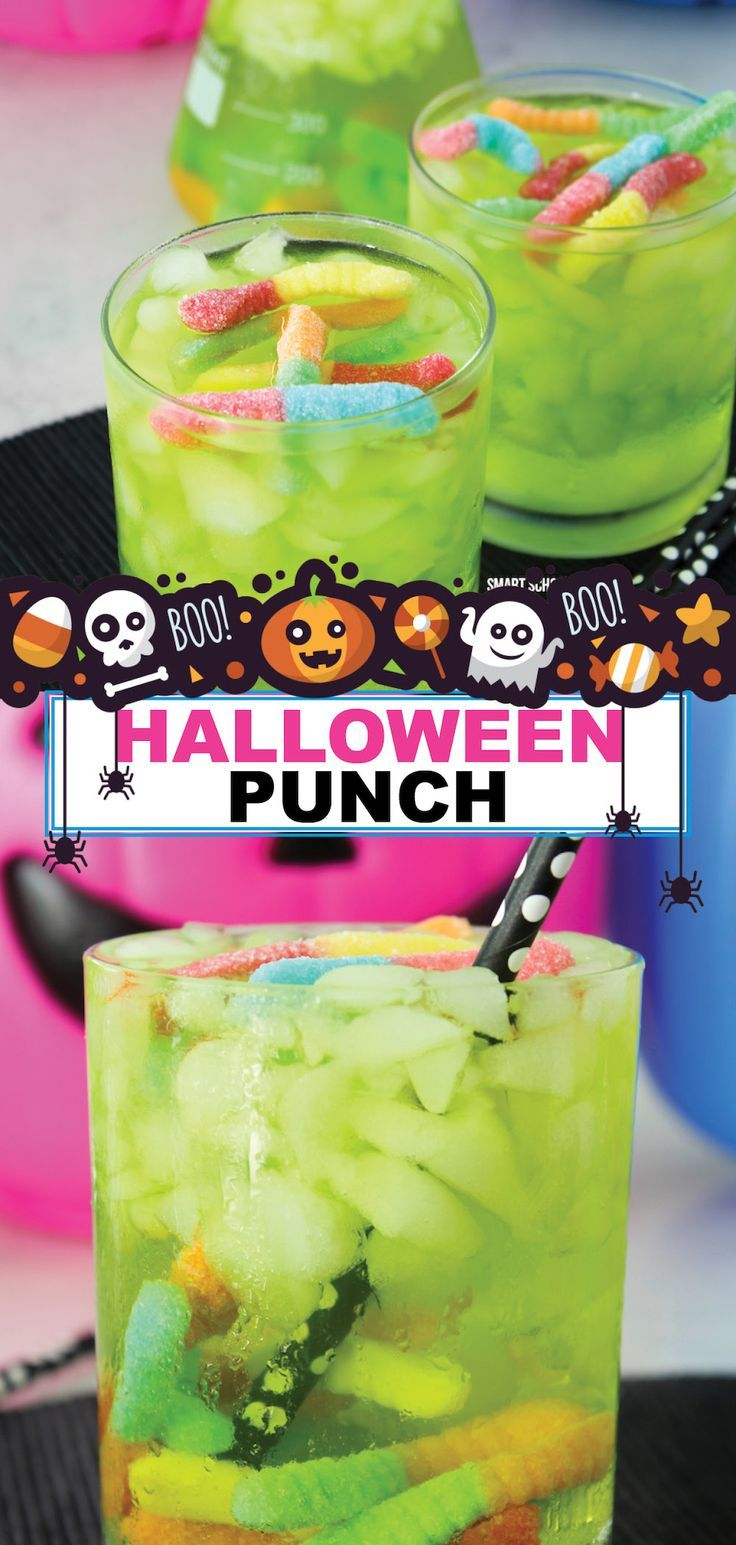 It is getting close to Halloween and time for fun parties and drinks. Try making this great Halloween punch for your kids' parties. This drink is sure to be a favorite. Not only is it delicious, but having gummy worms floating in your drink makes it a lot of fun. Make some of this spooky Halloween punch this year and have a great time. #halloween #punch #forkids #worms #nonalcoholic #easy #smartschoolhouse