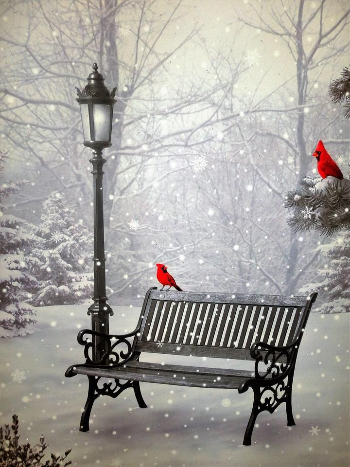 2 Quot Christmas Cardinals With Park Bench And Light Post