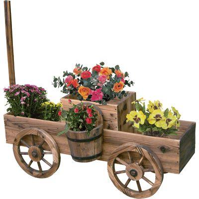 2 Tiered Wooden Wagon Garden Planter