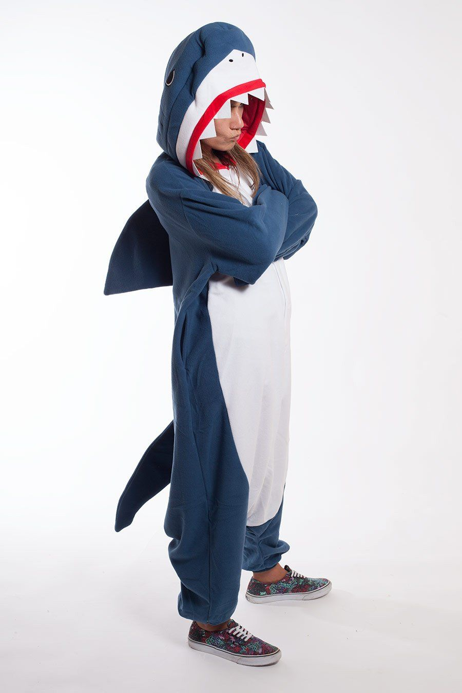 0a82f7cde6 Shark Kigurumi Onesie Adult Costume Pajamas Front Más