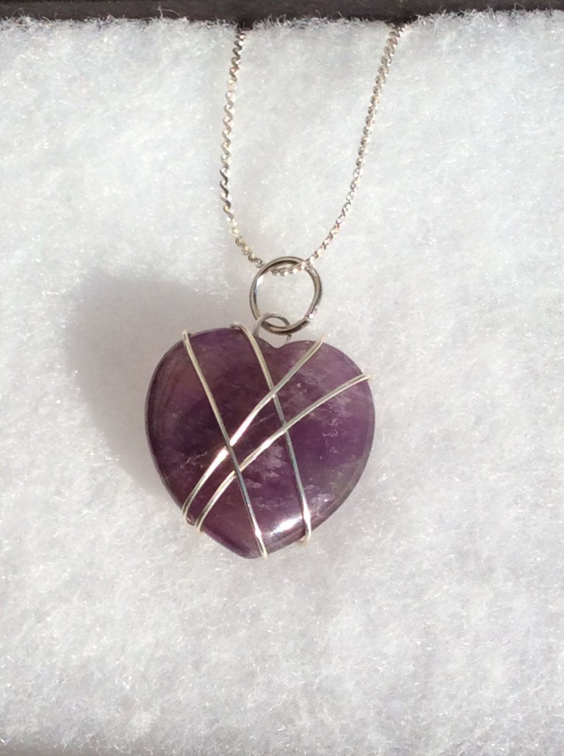 Amethyst Heart Stone Pendant/Wire Wrapped Pendants/Handmade and ...