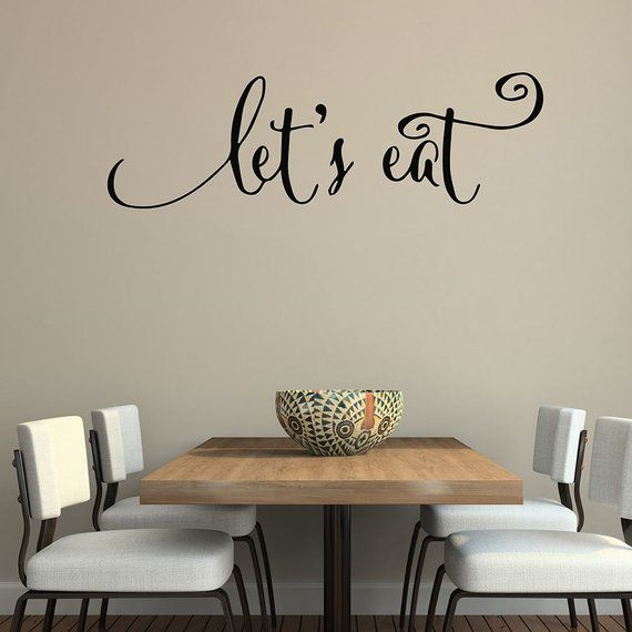 wall quote decal let s eat kitchen home dining room vinyl decal lettering wall stickers 640q on kitchen decor quotes wall decals id=60824