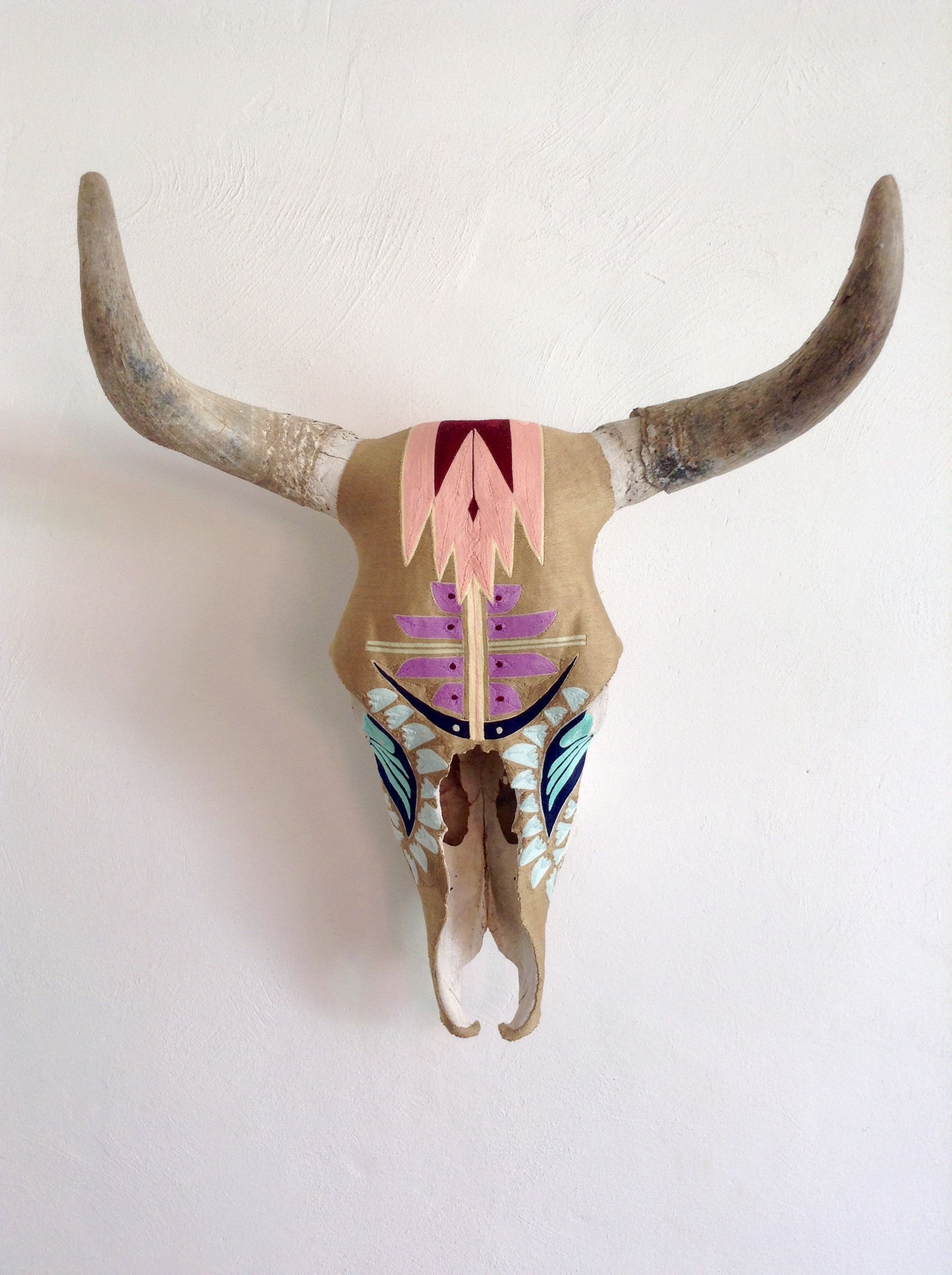 desert dawn yarn painted cow skull indigenous art form