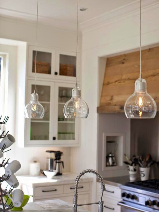 4 Pendant Lights Over Kitchen Island