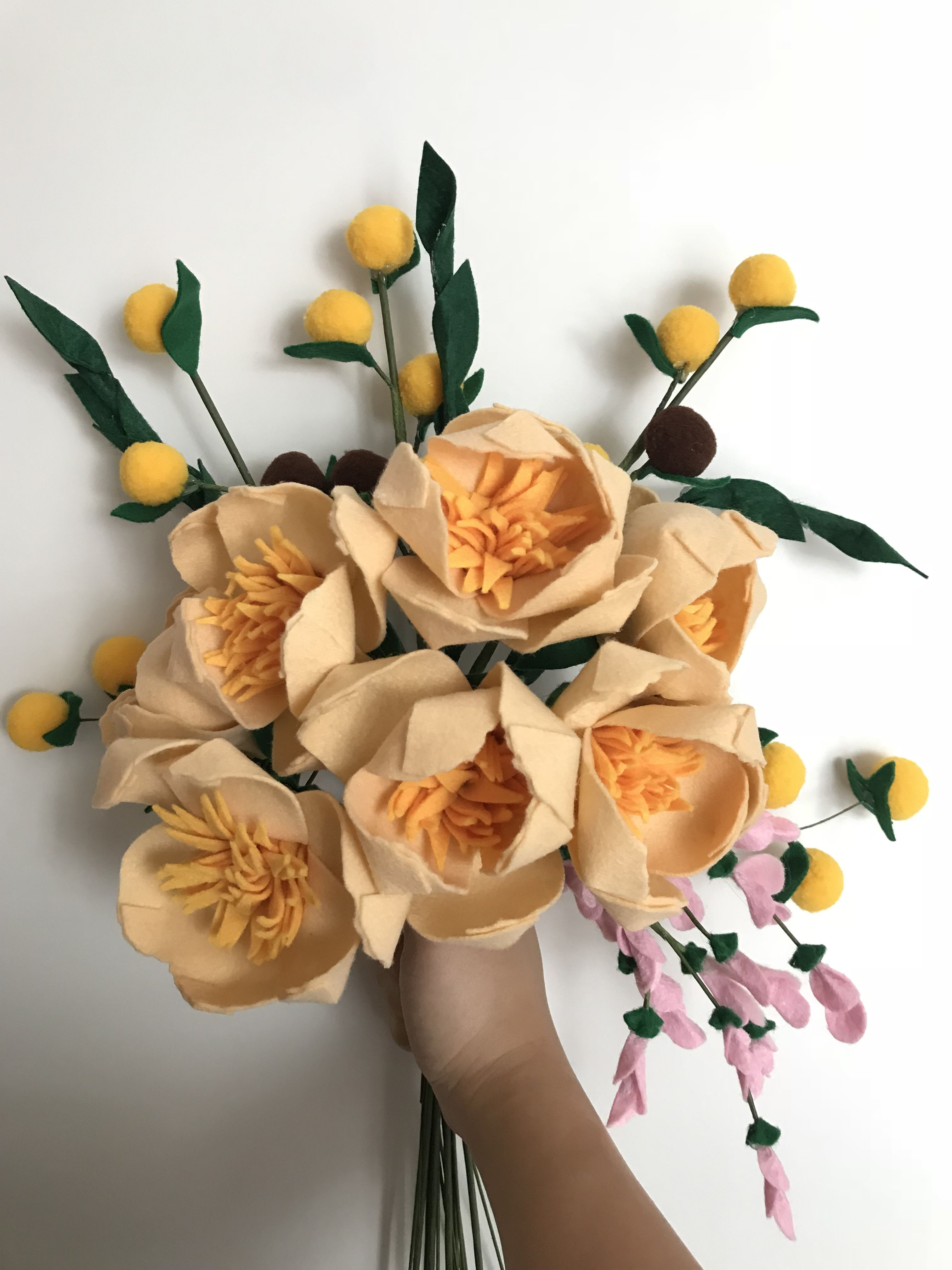 Felt flowers bouquet in beige colour with cheese poms poms project felt flowers bouquet in beige colour with cheese poms poms izmirmasajfo