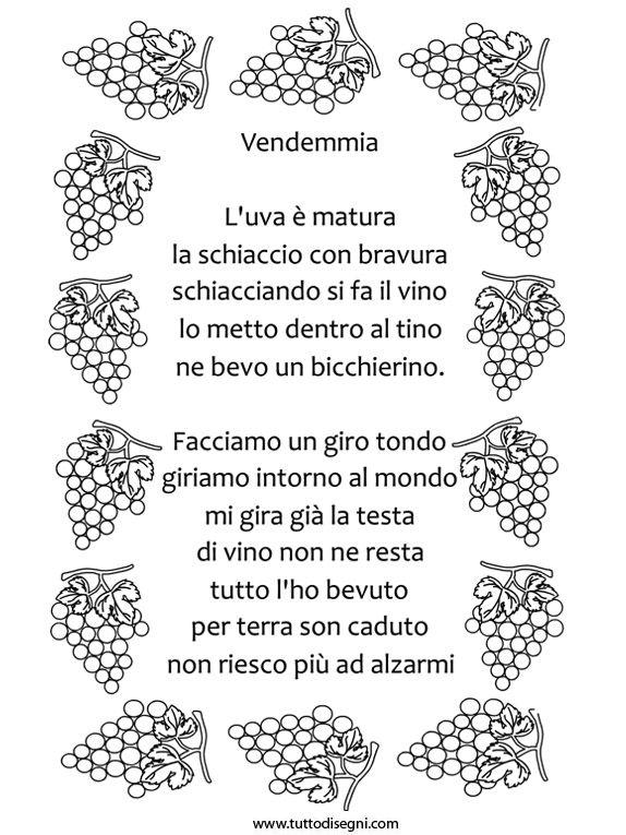 Filastrocca sulla vendemmia con cornice languages - Poesie primaverili per la scuola materna ...