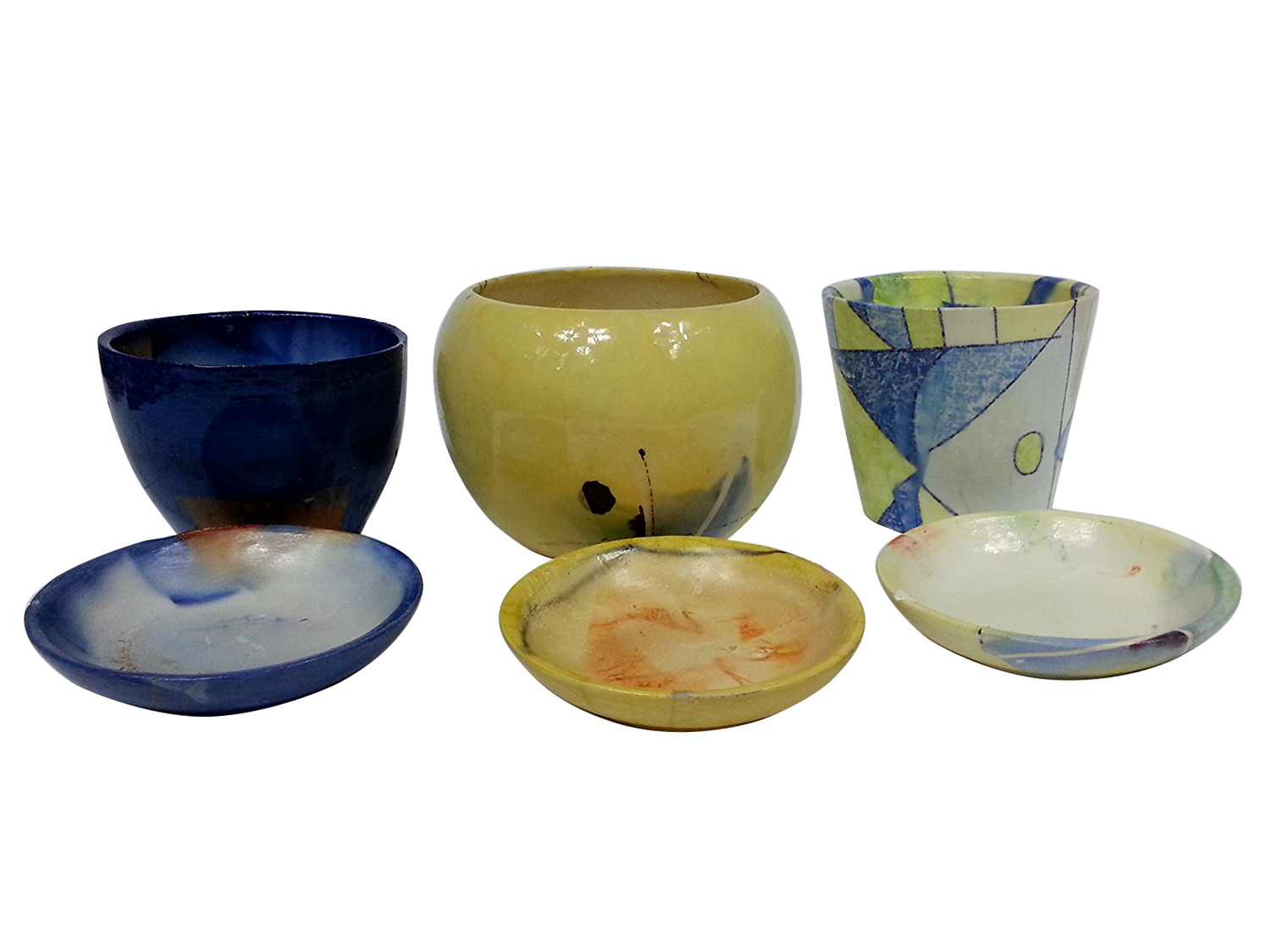 Handmade 3 Pcs Ceramic Flower Pots And Hand Painted By Skilled