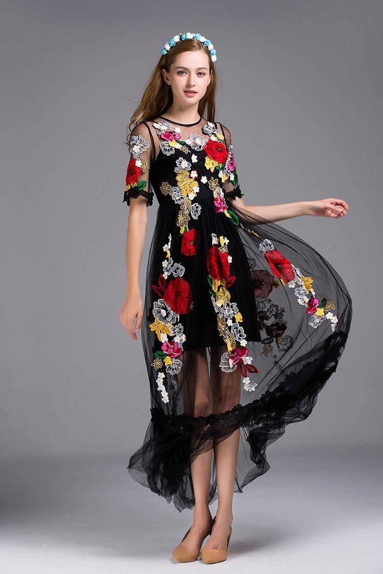 Elegant flower embroidery appliques black mesh dress applique